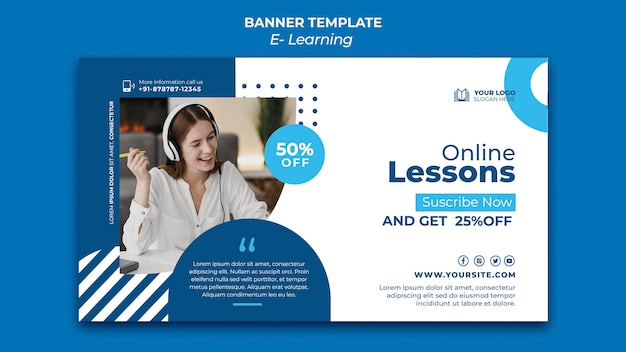 Plantilla de diseño de banner de e-learning