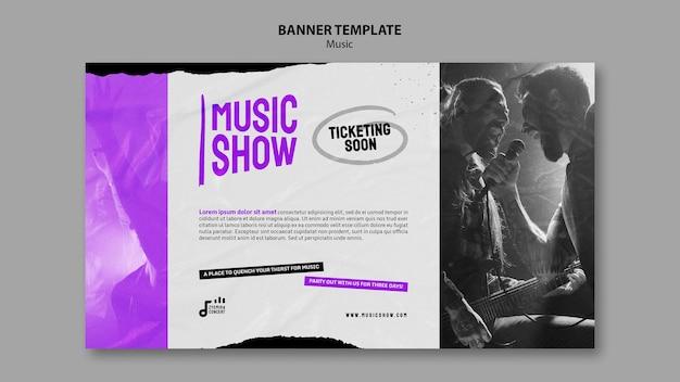 Plantilla de diseño de banner de espectáculo de música