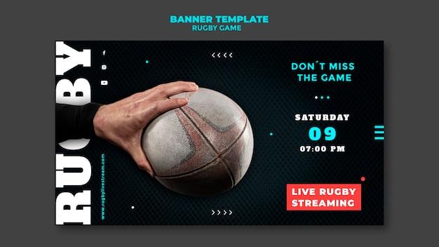 Plantilla de diseño de banner de juego de rugby