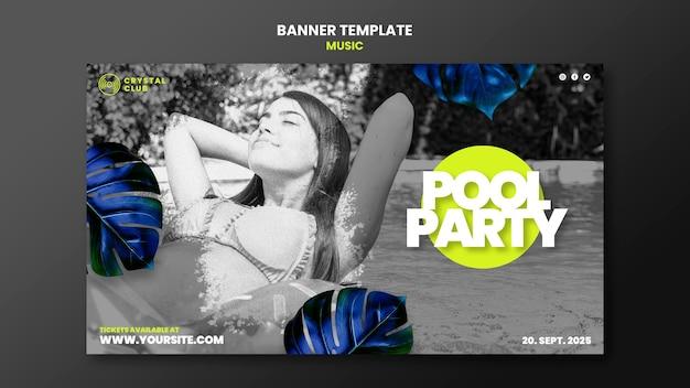 Plantilla de diseño de banner de música de fiesta en la piscina