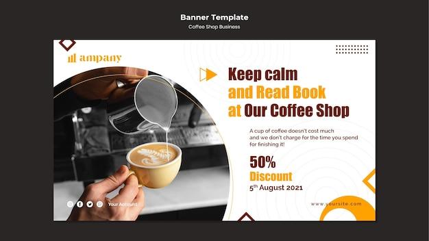 Plantilla de diseño de banner de negocios de cafetería