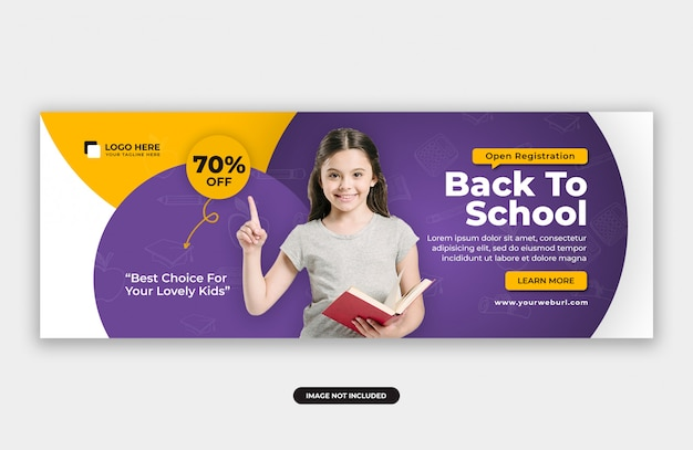 Plantilla de diseño de banner de portada de oferta de admisión a la escuela
