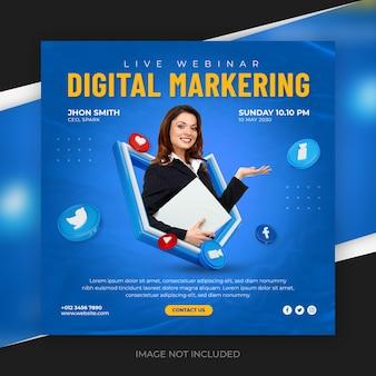 Plantilla de diseño de banner de publicación de instagram y redes sociales de marketing digital