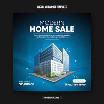 Plantilla de diseño de banner de publicación de redes sociales de bienes raíces de venta de casas modernas