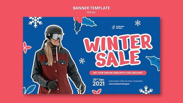 Plantilla de diseño de banner de rebajas de invierno