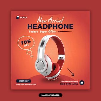 Plantilla de diseño de banner de redes sociales de productos de marca de auriculares