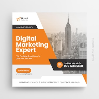 Plantilla de diseño de banner web y publicación de instagram de marketing digital y redes sociales corporativas