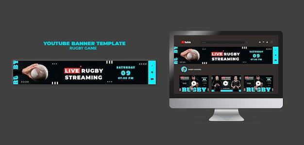 Plantilla de diseño de banner de youtube de juego de rugby