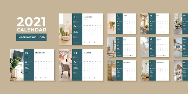 Plantilla de diseño de calendario de escritorio de concepto de muebles modernos