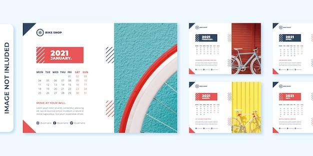 Plantilla de diseño de calendario de escritorio de concepto de tienda de bicicletas