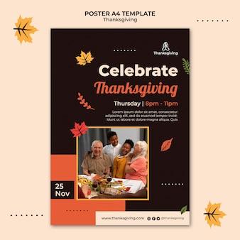 Plantilla de diseño de cartel de acción de gracias