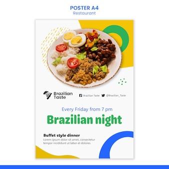 Plantilla de diseño de cartel de comida brasileña