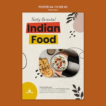 Plantilla de diseño de cartel de comida india