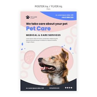 Plantilla de diseño de cartel de cuidado de mascotas