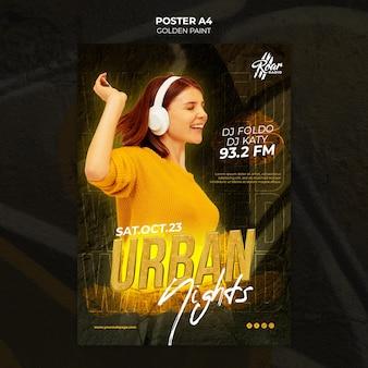 Plantilla de diseño de cartel de música urbana