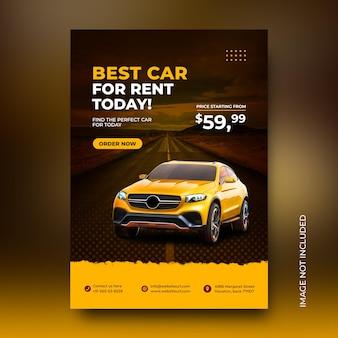 Plantilla de diseño de cartel promocional de redes sociales de alquiler de coches