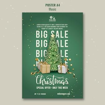 Plantilla de diseño de cartel de venta de navidad