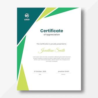 Plantilla de diseño de certificado de formas geométricas de color verde vertical