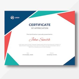 Plantilla de diseño de certificado de formas geométricas de colores