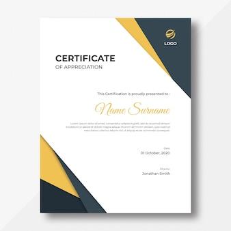 Plantilla de diseño de certificado de formas verticales doradas y negras