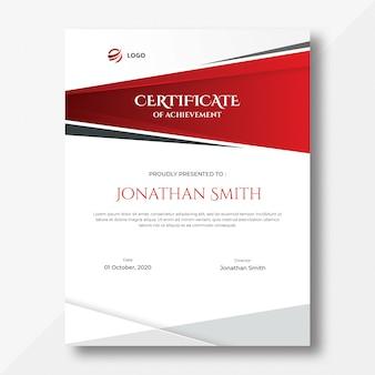 Plantilla de diseño de certificado de formas verticales rojas y grises abstractas