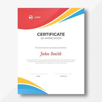 Plantilla de diseño de certificado de ondas de color vertical