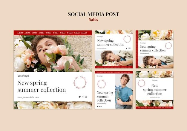 Plantilla de diseño de colección de moda primavera verano