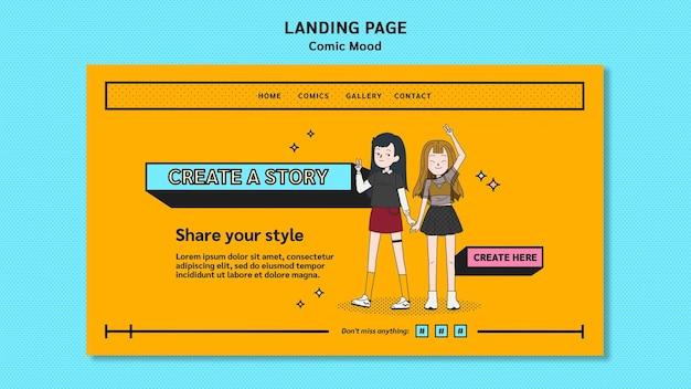 Plantilla de diseño de cómic de página de destino