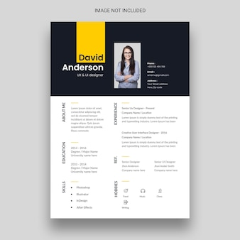 Plantilla de diseño de curriculum vitae o cv limpio y minimalista