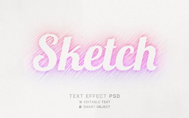 Plantilla de diseño de efecto de texto de boceto