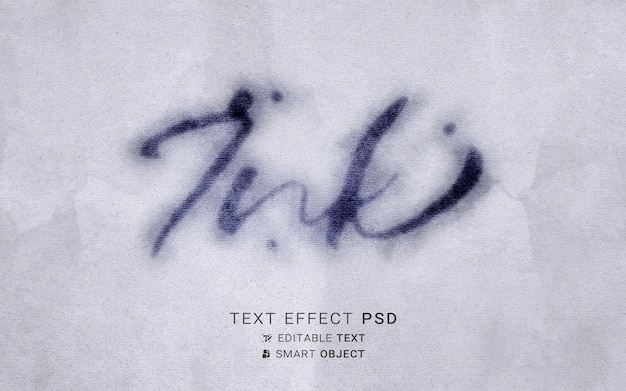 Plantilla de diseño de efecto de texto de tinta