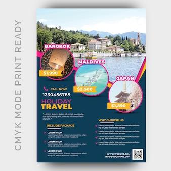 Plantilla de diseño de flyer de viajes y viajes de vacaciones
