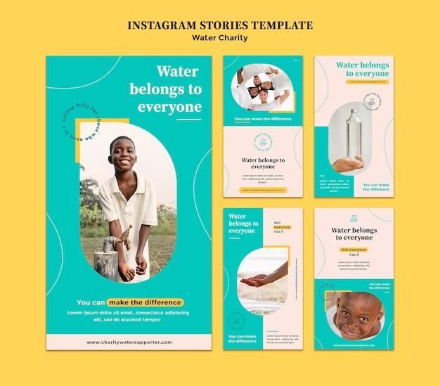Plantilla de diseño de historia de insta de caridad de agua