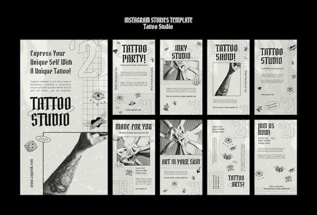 Plantilla de diseño de historia de insta de estudio de tatuajes
