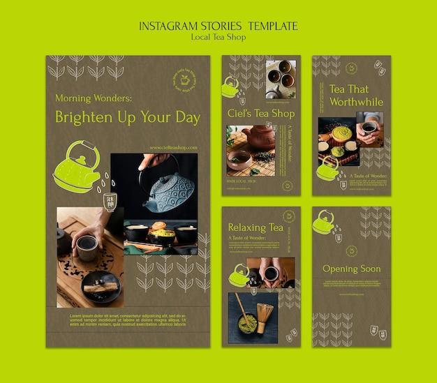 Plantilla de diseño de historia de insta de tienda de té local