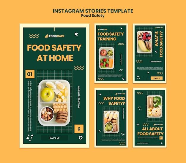 Plantilla de diseño de historias de instagram de seguridad alimentaria