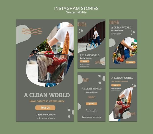 Plantilla de diseño de historias de instagram de sostenibilidad