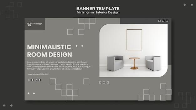 Plantilla de diseño de interiores minimalista de banner