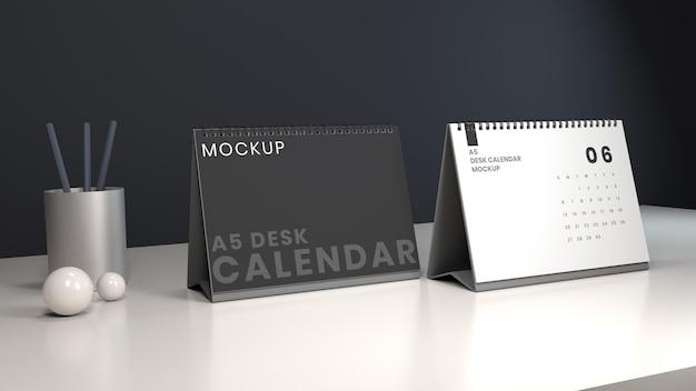 Plantilla de diseño de maqueta de calendario de escritorio de paisaje con fondo oscuro
