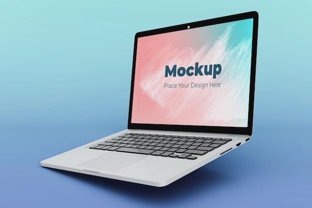 Plantilla de diseño de maqueta de computadora portátil flotante editable