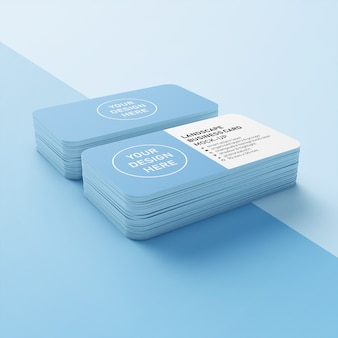 Plantilla de diseño de maquetas premium de dos pilas de 90x50 mm lista para usar tarjeta de presentación comercial horizontal con esquinas redondeadas en la vista superior