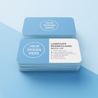 Plantilla de diseño de maquetas premium de dos pilas de tarjeta de visita de paisaje realista de 90 x 50 mm con esquinas redondeadas en vista frontal en perspectiva