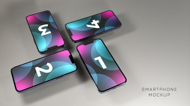Plantilla de diseño de maquetas de teléfonos flotantes