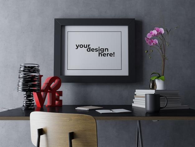 Plantilla de diseño de mock up de un solo cuadro de arte de primera calidad colgado en la pared en un espacio de trabajo interior negro contemporáneo