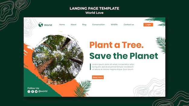 Plantilla de diseño de página de destino de amor mundial