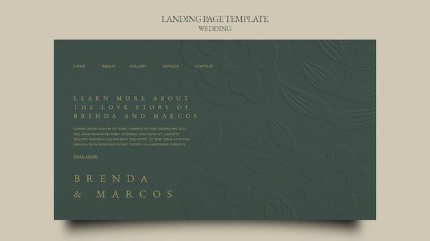 Plantilla de diseño de página de destino de boda