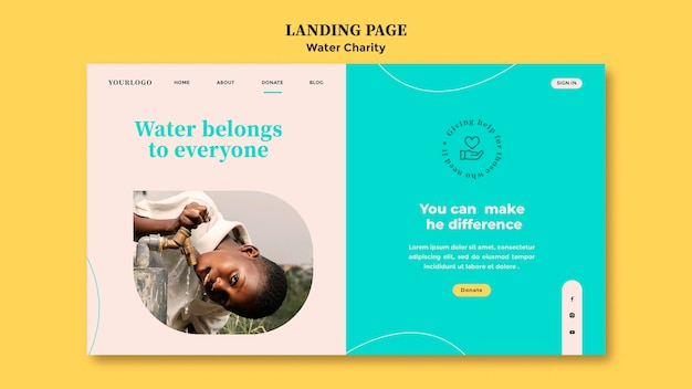Plantilla de diseño de página de destino de caridad de agua
