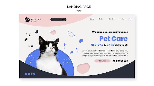 Plantilla de diseño de página de destino de cuidado de mascotas