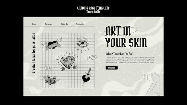 Plantilla de diseño de página de destino de estudio de tatuajes
