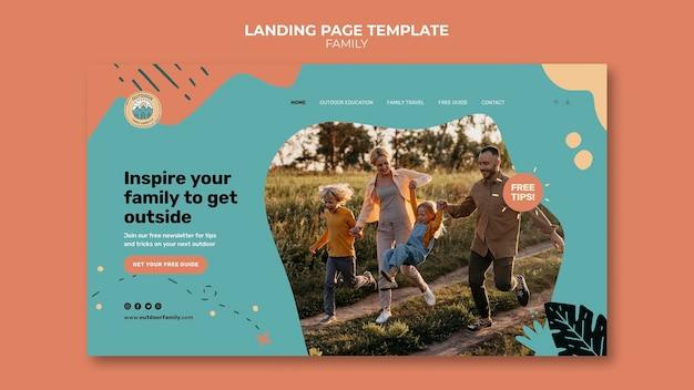 Plantilla de diseño de página de destino familiar para niños y padres